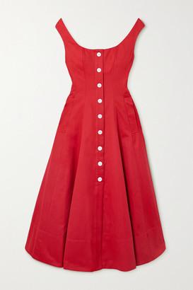 STAUD Loretta Cotton-blend Faille Midi Dress - Red