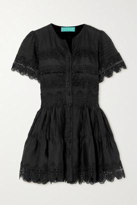 Waimari Violetta Guipure Lace-trimmed Linen Mini Dress - Black