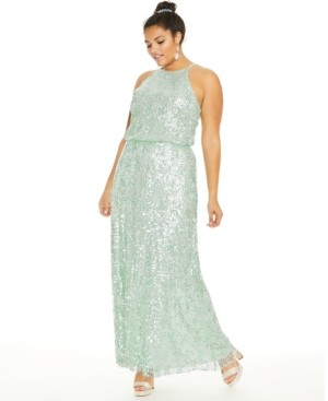 B. Darlin Trendy Plus Size Sequined Blouson Gown