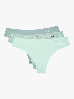 Under Armour Pure Stretch Printed Thong, Pack of 3, Seaglass Blue/Enamel Blue