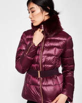 Ted Baker Faux fur collar quilted jacket