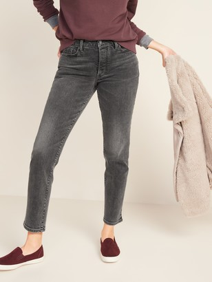 Old Navy High-Waisted O.G. Straight Ankle Gray Button-Fly Jeans for Women