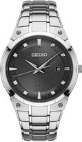Seiko Men's Solar Diamond Accent Stainless Steel Bracelet Watch 41mm SNE429