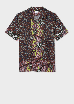 Paul Smith Men's Classic-Fit Burgundy 'Mountain Floral' Lyocell Shirt