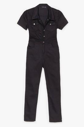 Nasty Gal Womens Gotta Go to Work Denim Boilersuit - Black - 8, Black