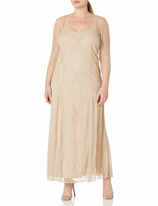 Brianna Women's Plus Size Illusion Sleeve Long Beaded Fit and Flare Gown