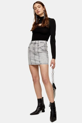 Topshop Gray Acid Denim Stretch Mini Skirt