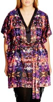 City Chic 'Tribal Trim' Print Belted V-Neck Tunic (Plus Size)