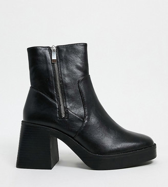 Raid Wide Fit Leonore chunky ankle boots in black