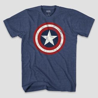 Marvel Men's Captain America Logo Short Sleeve Graphic T-Shirt Denim Heather