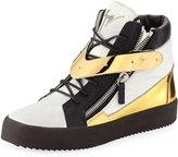 Giuseppe Zanotti Colorblock Leather Zip Sneaker, White