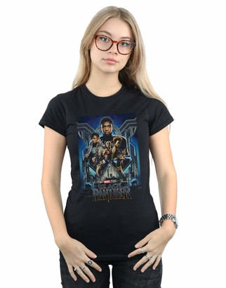 Absolute Cult Marvel Studios Women's Black Panther Poster T-Shirt Black Small