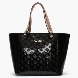 GUESS Kamryn Stamp Black Patent Tote Bag