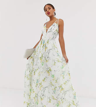 Asos Tall DESIGN Tall maxi dress with deep plunge and cut out strap detail in print-Multi