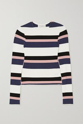 CALÉ Veronique Striped Ribbed-knit Top - Blue