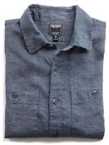 Todd Snyder Slim Fit Linen Two Pocket Shirt in Charcoal