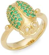 Temple St. Clair Women's Diamond, Crystal and 18K Yellow Gold Ring