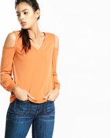 Express v-neck cold shoulder long sleeve tee
