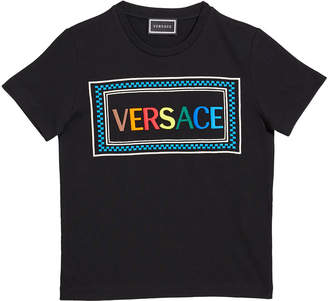 Versace Girl's Rainbow Letters Block Logo Tee, Size 4-6