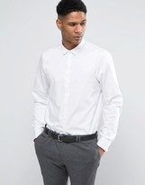 Asos Regular Fit Egyptian Cotton Shirt With Double Cuffs In White