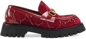 Gucci GG velvet lug sole loafer