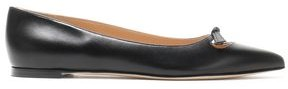 Sergio Rossi Knotted Cutout Leather Point-toe Flats