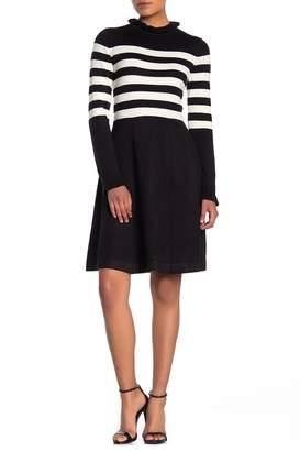 Eliza J Ruffle Neck Stripe Print Fit and Flare Dress