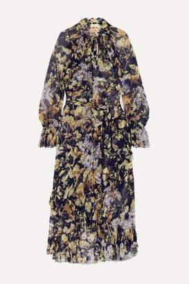 Zimmermann Sabotage Ruffled Floral-print Silk-crepon Midi Dress - Navy