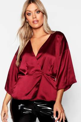boohoo Plus Kimono Sleeve Button Detail Satin Top