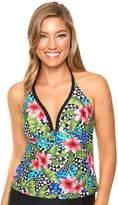 Women's Aqua Couture Bust Enhancer Tropical Push-Up Halterkini Top
