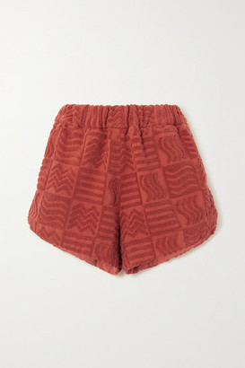 LUCY FOLK Cabana Cotton-terry Shorts - Red