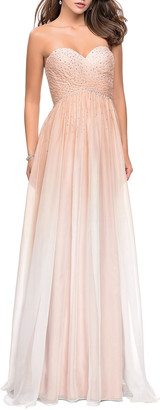 La Femme Ombre Rhinestone Embellished Strapless Chiffon Gown
