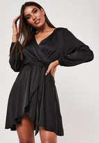 Missguided Tall Black Wrap Front Skater Dress