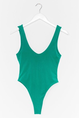 Nasty Gal Womens Low Tide High-Leg Swimsuit - Green