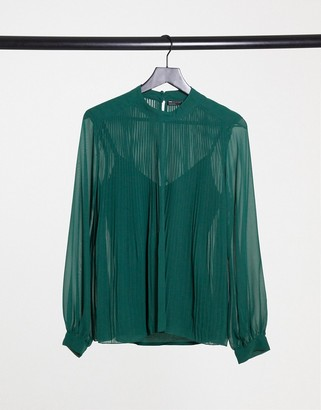 ASOS DESIGN long sleeve pleated trapeze top in forest green