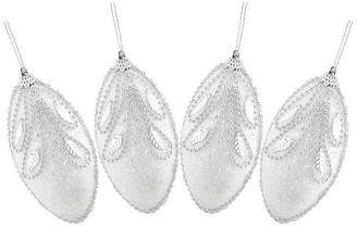 Northlight White and Silver Beaded and Glittered Christmas Ornaments, Set of 4
