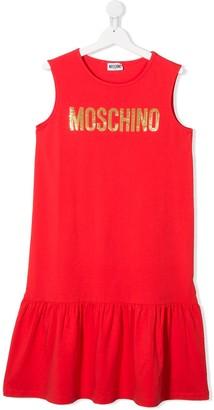 MOSCHINO BAMBINO TEEN logo-print ruffle-trim dress