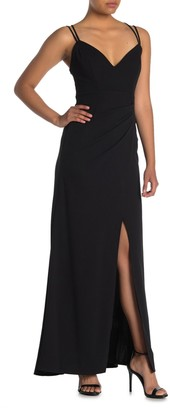 Jump Strappy Front Slit Scuba Crepe Gown
