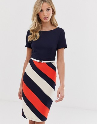 Paper Dolls capped sleeve 2-in-1 pencil midi dress with striped skirt
