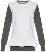Marni Long-sleeved wool-blend crepe and knit top
