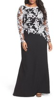 Tadashi Shoji Plus Size Women's Lace Embroidered Pebble Crepe Gown