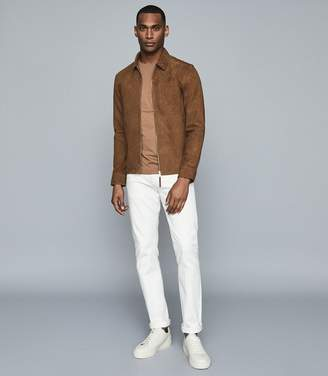 Reiss Iona - Cotton Blend Crew Neck T-shirt in Camel