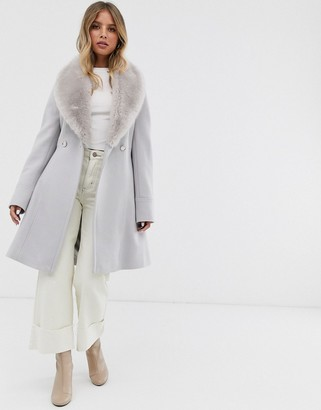 Forever New midi wrap tie coat with faux fur collar in mink-Pink