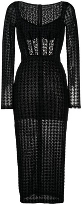 David Koma Houndstooth Print Midi Dress