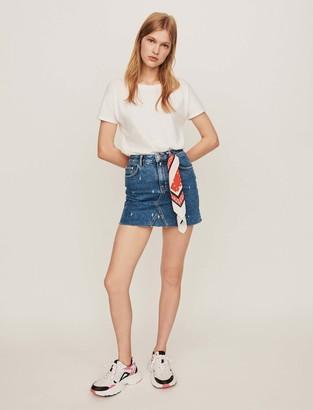 Maje Faded straight-cut jean skirt