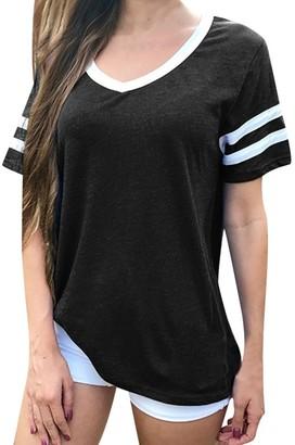 Toamen Women's Top T-Shirt Sale Clearance Ladies Casual O Neck Short Sleeve Striped Loose Tunic Tee Shirt Baseball Blouse(Black 10)