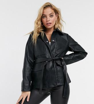 Threadbare Petite lemonade belted faux-leather coat