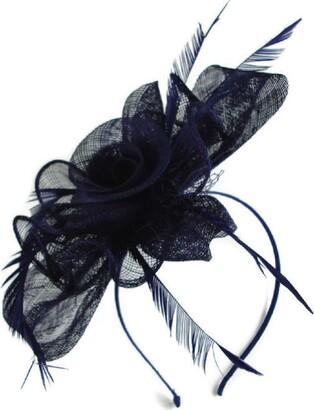 Signature Tiara Signature Blue Flower Bow Sinamay Feather Fascinator (Navy Blue)