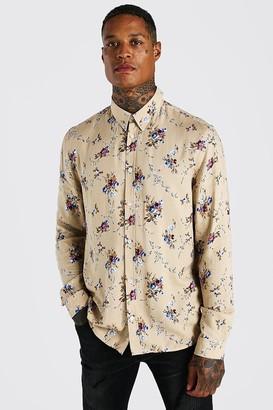 boohoo Mens Beige Long Sleeve Viscose Floral Print Shirt, Beige