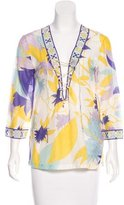 Emilio Pucci Printed Lace-Up Top
